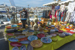 Pottery stall La Ciotat Sunday market stock photography