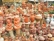 Pottery Store. Different types of pottery for sale in a pottery shop in indian village Stock Photo