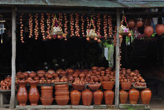 Pottery store in Cambodia Royalty Free Stock Photos