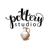 Pottery studio logo. Vector illustration used modern lettering and drawing stock illustration