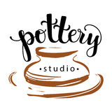 Pottery studio logo. Vector illustration used modern lettering and drawing Royalty Free Stock Images