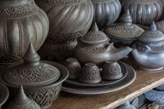 Pottery with thai pattern Stock Photos