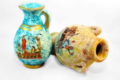 Pottery. Traditional colored painted greek pottery Stock Images