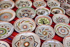 Ceramic traditional colored pottery, Romania Royalty Free Stock Images