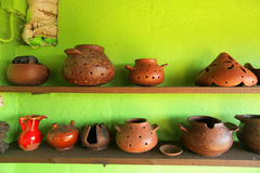 Pottery. Traditional pottery on display in El Cercado village - the pottery capital of small island La Gomera of Canary Islands archipelago Royalty Free Stock Photos