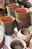Pottery, traditional handmade souvenirs on the table. Crafts Fai Royalty Free Stock Images