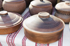 Pottery, traditional handmade souvenirs on the table. Crafts Fai Stock Photos