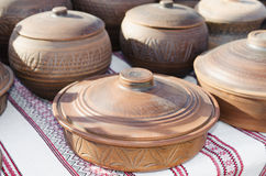 Pottery, traditional handmade souvenirs on the table. Crafts Fai Stock Photography
