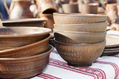 Pottery, traditional handmade souvenirs on the table. Crafts Fai Royalty Free Stock Photo