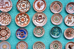 Pottery. Traditional romanian pottery on the wall Royalty Free Stock Images