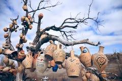 Pottery on a tree Stock Photo