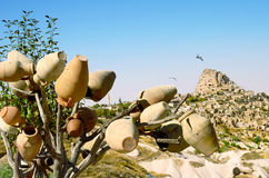 Pottery  tree in front of Uchisar Castle in Cappadocia, Turkey Stock Image