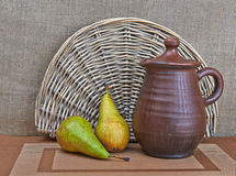 Pottery And Two Pears Still Life Royalty Free Stock Photography