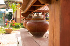Thai water pot. A pottery used as a water container ,Thai water pot stock photos