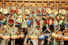 Pottery. Various pottery goods hanging on little ropes Royalty Free Stock Image