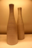 Pottery vase. Two pottery vases on a table stock photos