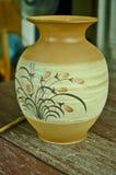 Pottery vase close up. Beautiful line art on pottery vase Royalty Free Stock Image