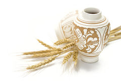 Pottery and wheat Stock Image