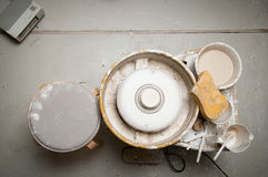 Pottery wheel in the studio making ceramic products Stock Image