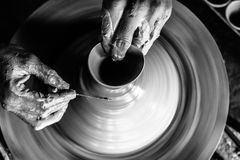 Free Pottery Wheel With Potter`s Hands . Royalty Free Stock Photography - 122780207