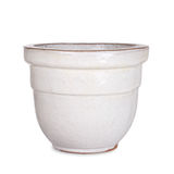 Pottery, white flower pot. Single white flower pot handmade from pottery, isolated Stock Images