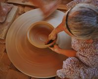 Pottery. The women make pottery in Thanh Ha pottery village, Hoi An Royalty Free Stock Photo
