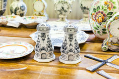 Pottery workpieces with hand painting of Delftware in the Delft pottery factory, Holland Stock Photography