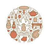 Pottery workshop, ceramics classes banner illustration. Vector line icon of clay studio tools. Hand building Stock Photography