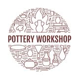 Pottery workshop, ceramics classes banner illustration. Vector line icon of clay studio tools. Hand building Royalty Free Stock Images