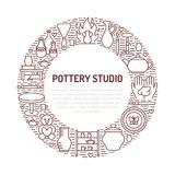 Pottery workshop, ceramics classes banner illustration. Vector line icon of clay studio tools. Hand building Royalty Free Stock Photography