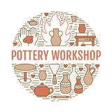 Pottery workshop, ceramics classes banner illustration. Vector line icon of clay studio tools. Hand building. Sculpturing equipment. Art shop circle template Stock Photo