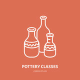Pottery workshop, ceramics classes line icon. Clay studio tools sign. Hand building, sculpturing equipment shop sign Stock Images