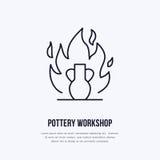Pottery workshop, ceramics classes line icon. Clay studio tools sign. Hand building, sculpturing equipment shop sign Stock Photo