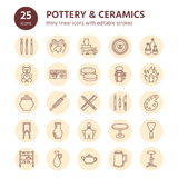 Pottery workshop, ceramics classes line icons. Clay studio tools signs. Hand building, sculpturing equipment - potter Stock Photo