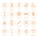 Pottery workshop, ceramics classes line icons. Clay studio tools signs. Hand building, sculpturing equipment - potter. Wheel, electric kiln, tools. Thin linear royalty free illustration