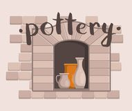 Pottery workshop poster with ceramics. Pottery workshop poster with clay ceramics in traditional oven. Kiln firing of ceramics and handmade pottery in workshop Stock Photography