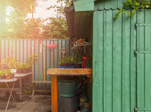 Potting table and shed Stock Photo