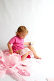 Potty. Little baby and pink potty Royalty Free Stock Photo