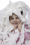 Potty Time - Little Girl Plays with Toilet Paper Stock Photography