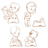 Potty training. Babies on potty. Sketch. Stock Images