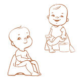 Potty training. Babies on potty. Sketch Stock Photos