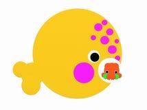 Potvis die een pijlinktvis eten stock afbeeldingen