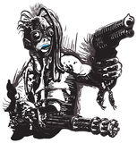 Potwór, istota, z pistoletami - Freehand, wektor royalty ilustracja