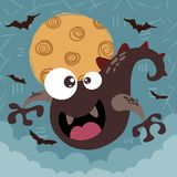Potwór, okrzyki niezadowolenia - Halloween illusttration Pomysł dla druk koszulki ilustracji