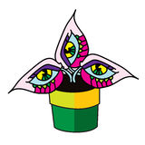 Potwór roślina w kwiatu garnka projekta wektoru płaskiej ilustraci Zdjęcie Stock