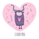 Potwór w miłości z sercem Obraz Royalty Free
