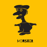 Potwór w postaci mężczyzna z jego usta otwartym na kolorze żółtym Obraz Royalty Free