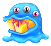 Potwór z prezentem w jego usta Zdjęcia Stock