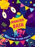 Potwora jubel Partyjna karta Zaproszenie plakat rabatowy bobek opuszczać dębowego faborków szablonu wektor Obrazy Royalty Free