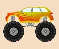 Potwora samochód z płomienia majcherem Obrazy Stock